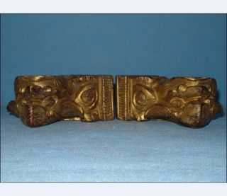 Pair Of Antique Chinese Gold Gilt Wooden Lions/foo Dogs photo