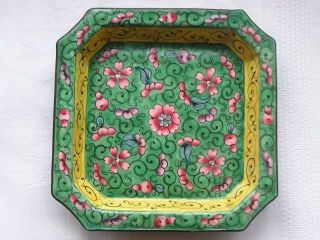 Chinese Canton Enamelsquare Plate 1880 - 1900 Late Qing Dy Handpainted Nr 2925 photo