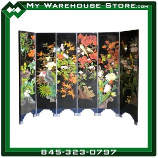 Six Panel Oriental Room Divider With Japanese Flowers Design photo