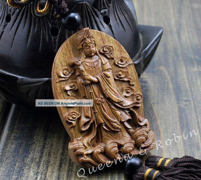 Peach Wood Carved Buddha Kwan - Yin Statue Amulet Hand Car Decor Pendant Netsuke Buddha photo
