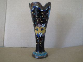 Sign?japanese Cloisonne Meiji Period Ginbari Rare Style Scalloped Goblet Vase Nr photo