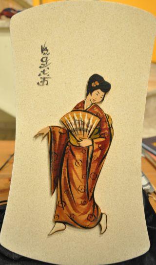 Traditional Japan Wood Geisha In Kimono Figure Painting On Wooden Frame Wall Art photo