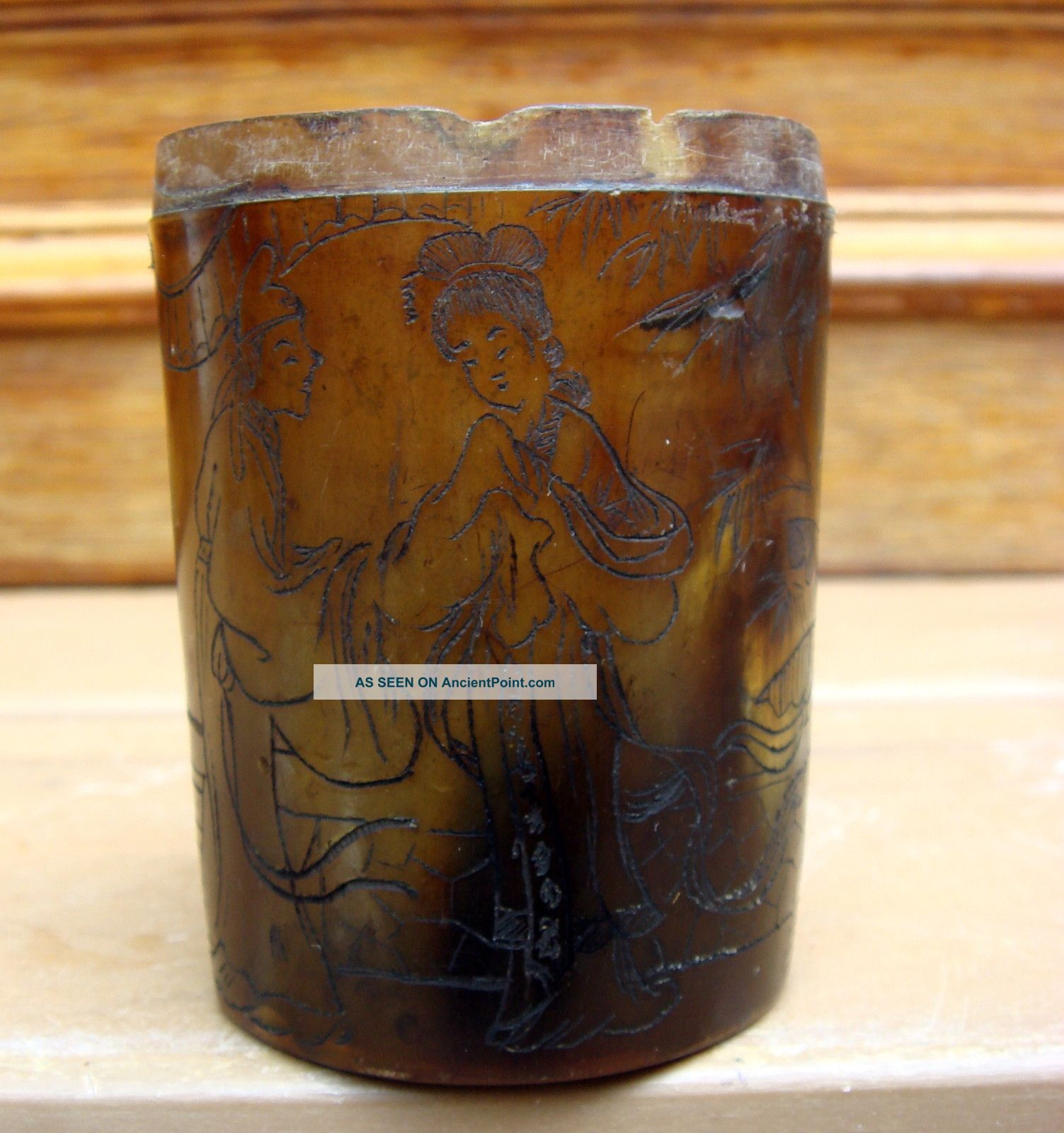 Antique Chinese Asian Early Etched Horn Cup Box Signed Boxes photo