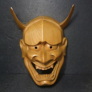 F443: Japanese Wood Carving Noh Mask Jealous Female Spirit Hannya. photo