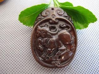 Tibet Folk Classical Jade Stone Carve Lucky Auspicious Red Bull Pendant 400 photo