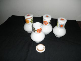Japanese Set Of 4 Porcelain Saki Cups With Lids Lined With Cork photo