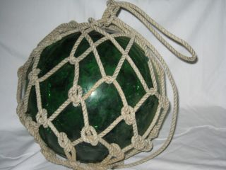 Antique Japanese Glass Fish Net Floats - Dark Green - Large photo