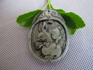 China Folk Classical Jade Stone Carve Lucky Auspicious Rabbit Pendant 507 photo