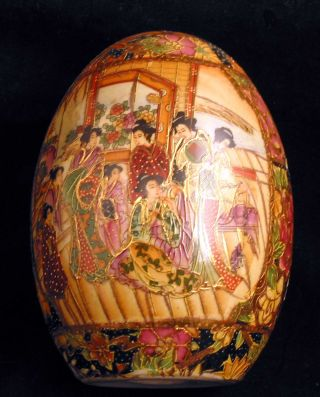 Japanese Satsuma Vintage Decorative Egg Ornate photo