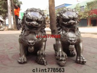 Chinese Classical Silver Palace Guardian Evil Door Foo Dog Fu Lion Kylin Pair 88 photo