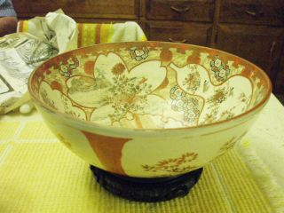 Japan,  Kutani Bowl,  Early Meiji Period,  Orange Predominant Colour photo