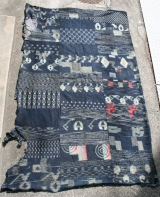 Japanese Antique Indigo Cotton Kasuri Tattered Boro Futon Textile Kimono Fabric photo