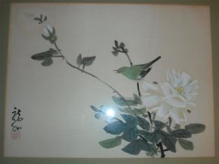 Japanese Block Print Painting Of Bird Signed Find With Providence photo