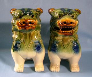 Vintage Jingdezhen Porcelain Foo Dogs One Pair 8.  5 H Inches U photo