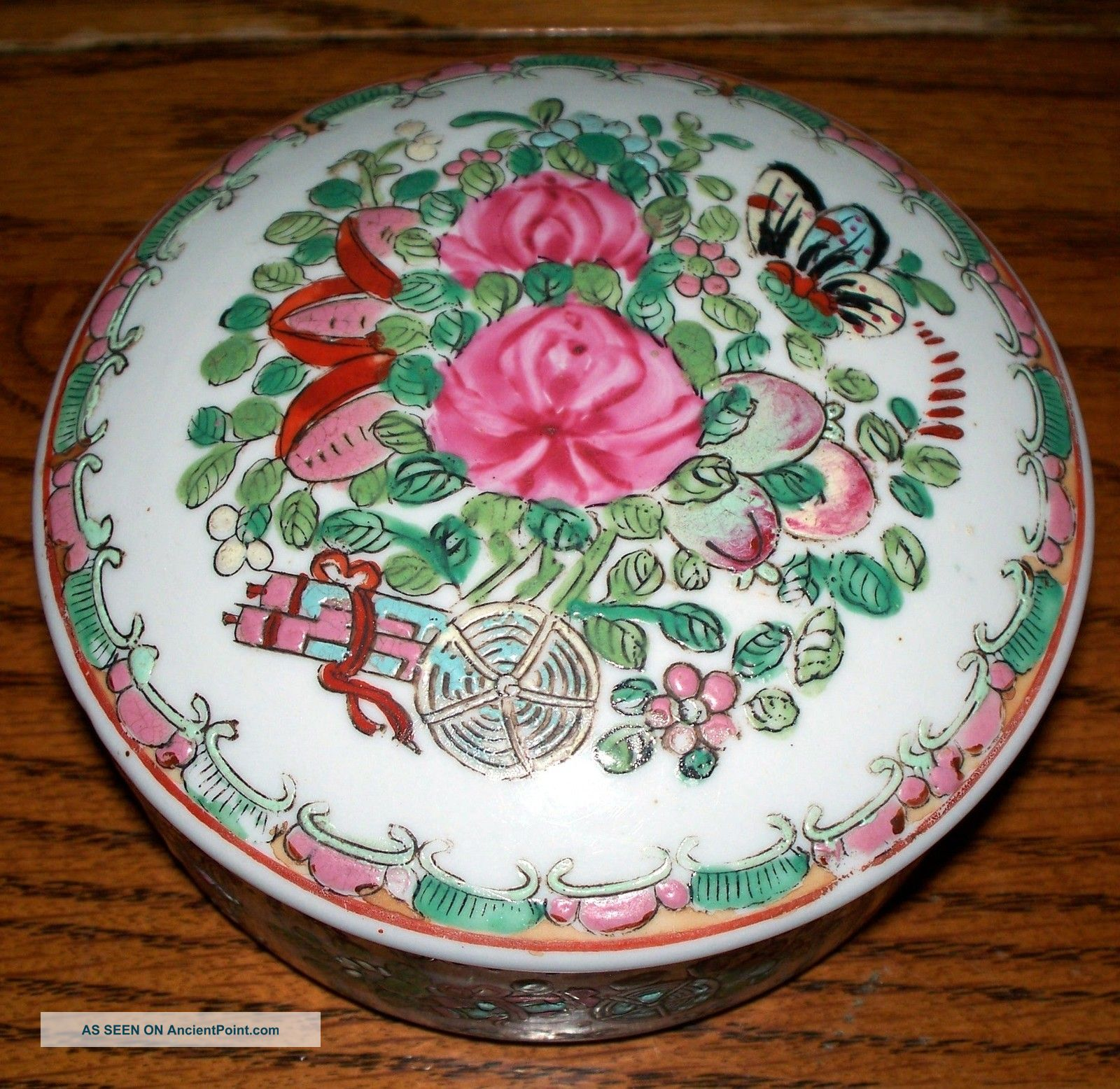 Rose Medallion Porcelain Round Covered Box Boxes photo