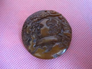 China Folk Classical Jade Stone Carve Lucky Great Leader Mao Zedong Pendant 530 photo