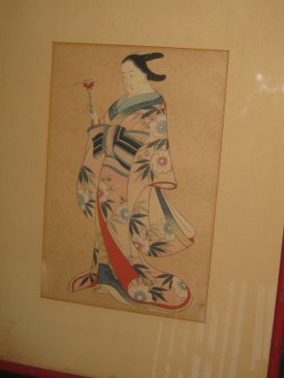 Fine Late 19thc? Wood Block Print Of A Woman In A Kimono Hollywood Hills Estate photo