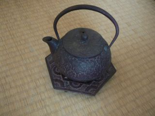 Vintage Japanese Kettle Nambu Tetsubin Ironware,  For Tea Ceremony,  With Pedestal photo