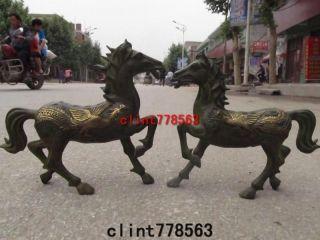 China Classic Art Bronze Gilded Dragon Phoenix Horse States photo