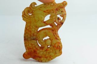 Asian Old Collectibles Decorated Wonderful Handwork Jade Dragon Statue Pendant photo
