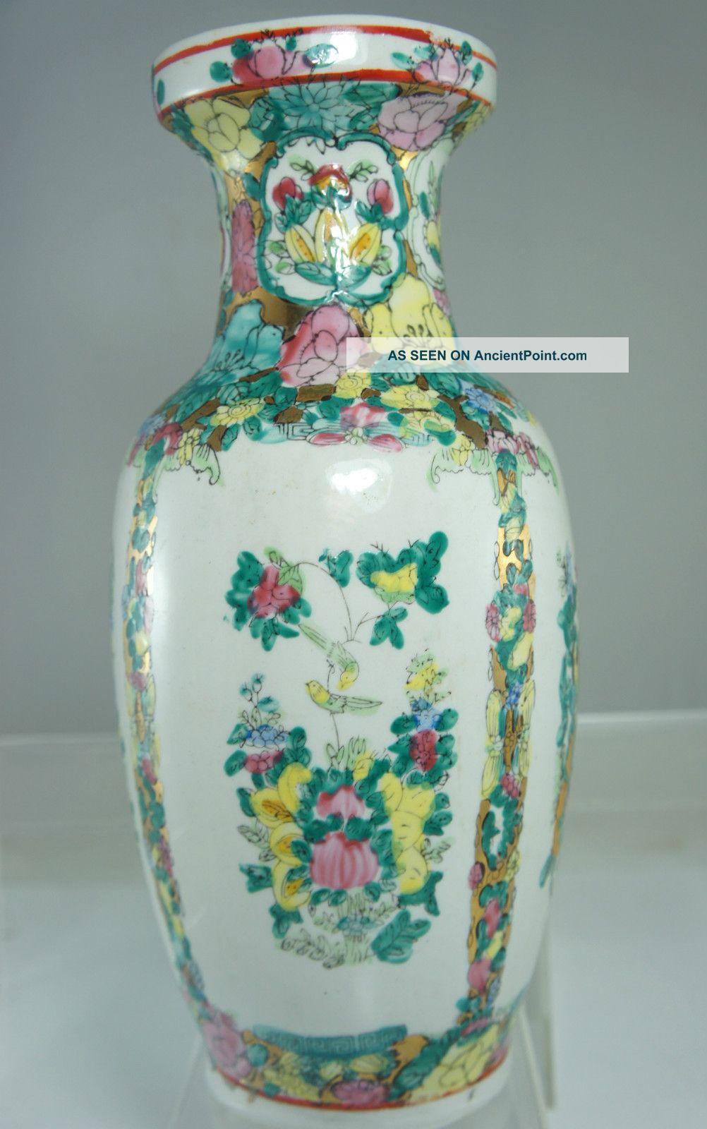Antique Chinese Rose Medallion Flower Vase 10 1 2 Tall