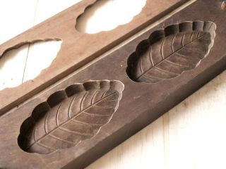 Japanese Antique Kashigata Leaf With Cover Hand Carved Wooden Mold photo
