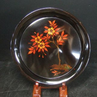 F269: Japanese Yakumo Lacquer Ware Tea - Thing Plate With Flower 4/5 photo