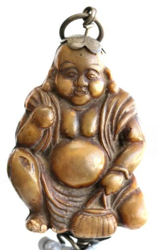 Very Old Rare Chinese Happy Buddha Toggle Made Of Resin With Silver Trimmings photo