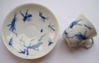 Vintage / Antique Japanese Porcelain Mocha Cup & Saucer,  Insects,  Signed photo