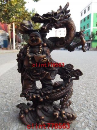 Folk Collection Classic Brass Guan Gong Ride On Dragon Statues 1632 photo