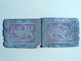 94.  Antique Chinese Carved Wood Panel 2pcs /set W/ Foo Dog. photo