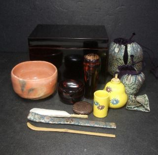 F446: Must Japanese Full Set Of Fantastic Tea Things With Chabako,  Shifuku photo
