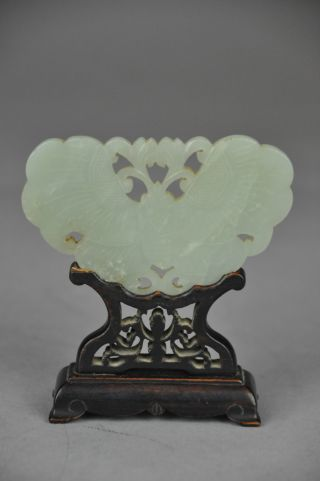 Mid - Qing Period Hetian Jade Butterfly Pendant Wood Stand photo