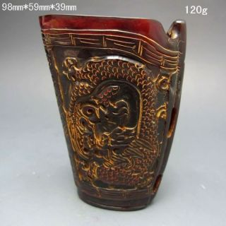 Old Antique 18 - 19th Chinese Ox Horn Hand - Carved Jiao Cup Nr/xb2029 photo