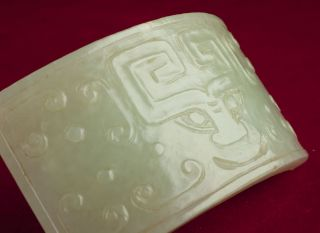 Fine Antique Chinese Ming Dynasty Celadon Jade Belt Plaque 1368 - 1644 Or Earlier photo