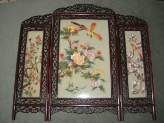 Vintage Chinese Screen Hand Painted Birds & Flowers photo