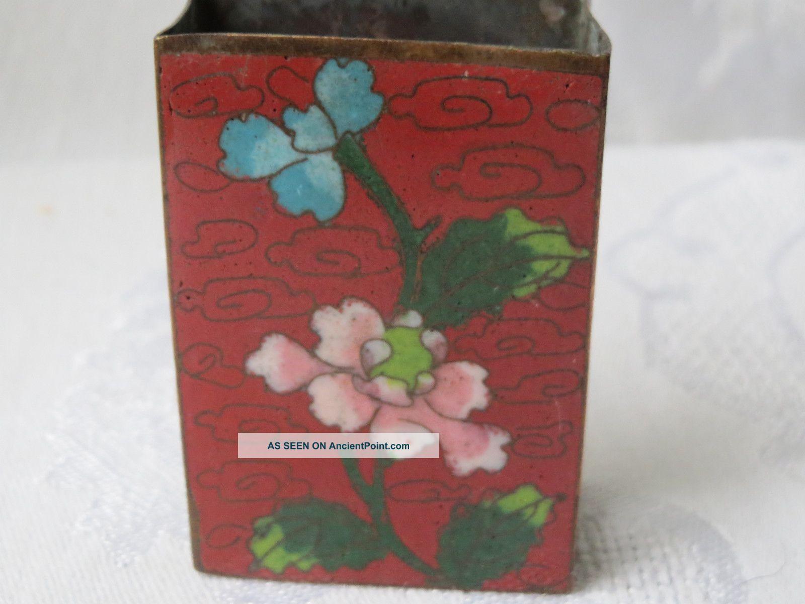 Antique Chinese Cloisonne Enamel Match Holder Safe Box Boxes photo