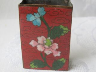Antique Chinese Cloisonne Enamel Match Holder Safe Box photo