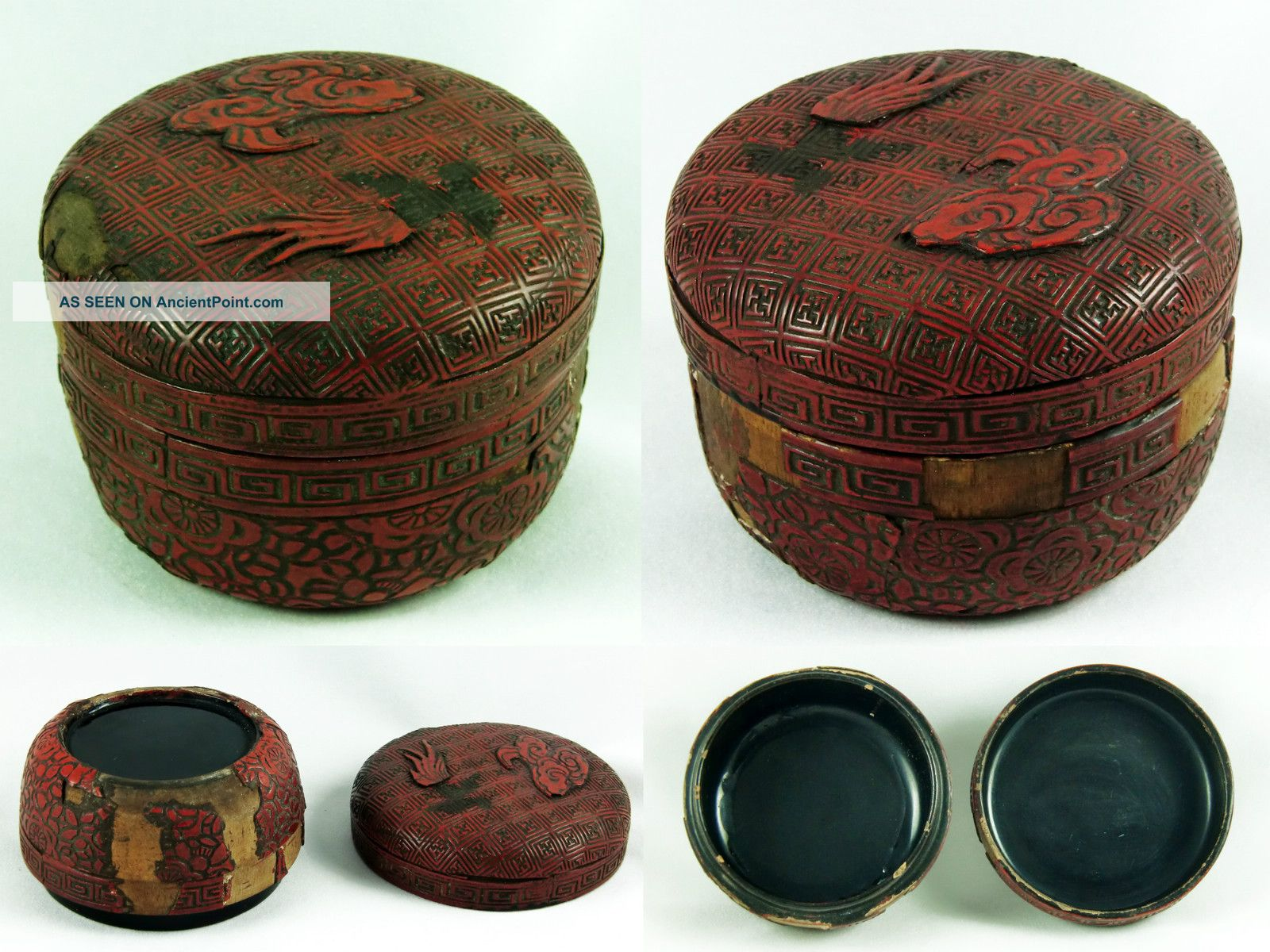 Very Old Oriental Cinnabar Lacquer Box Trinket Antique Chinese Asian - To Restore Boxes photo