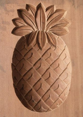 Japanese Antique Kashigata Pineapple With Cover Hand Carved Wooden Mold photo