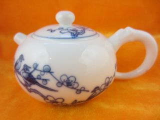 Chinese White Porcelain Blue Fresh Poney Handwritting Gongfu Teapot Delicate46 photo
