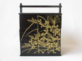 Japanese Wooden Tiered Lunch Box/ Bento - Bako/ Design/ 997 photo