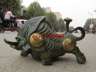 China Bullfighting Family Classical Bronze Ancient Coins Bullfighting Statues photo