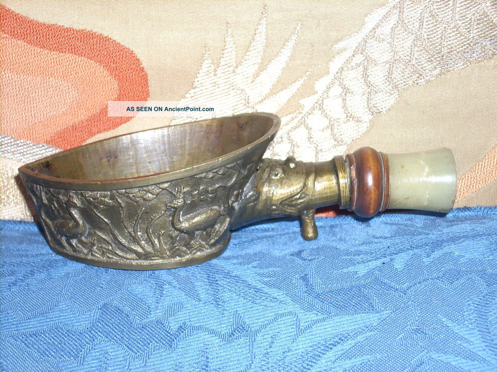 Old Chinese Bronze/brass Silk Iron W/jade Handle And Deer & Cranes Cast On Iron Other photo