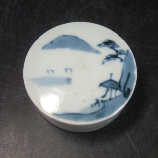 F304: Real Japanese Old Imari Blue - And - White Porcelain Covered Case As Kogo photo