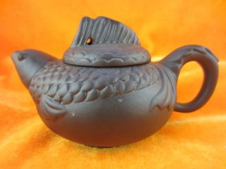 Chinese Unique Fish Shape Fins Cover Carving Yixing Pottery Gongfu Teapot T50 photo