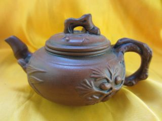 Chinese Unique Old Pine Branch Needle Carving Yixing Pottery Gongfu Teapot T30 photo