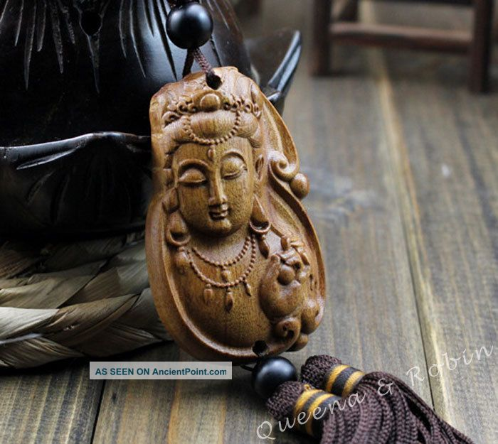 African Rosewood Carved Buddha Kwan - Yin Statue Amulet Car Decor Pendant Netsuke Buddha photo