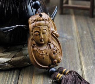 African Rosewood Carved Buddha Kwan - Yin Statue Amulet Car Decor Pendant Netsuke photo
