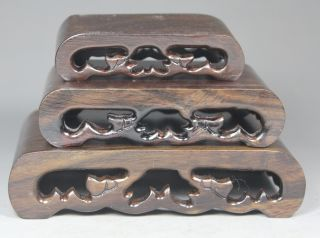Chinese Old Wood Handwork Shelf - Three Piece For Snuff Bottle/ Statue/ Decoration photo